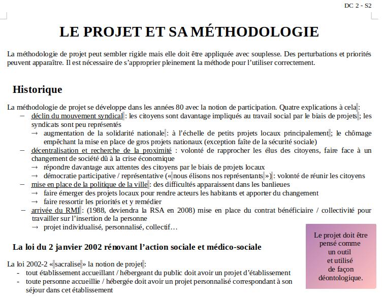Le projet et sa méthodologie : introduction